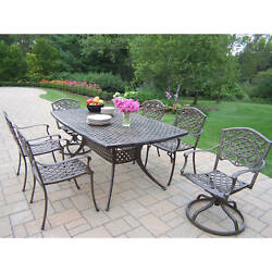 Casselton Outdoor Dining Set with Boat Table 6 Stackable Chairs and 2 Swivel