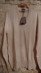 TOM FORD MEN'S V-NECK IVORY COLOR SILKCOTTON SWEATER ITALY SIZE 54  XL