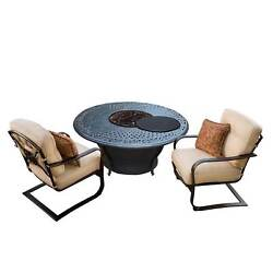 Novelina Firepit Table Set with Burner System Fire Beads Weather Cover and Two