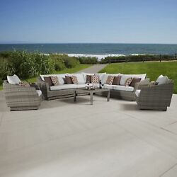 Cannes Moroccan Cream Corner Sectional and Club Chair Outdoor Furniture Set (9