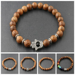 3 Pcs Men's Woman 8MM Multilayer Wooden Beaded Jewelry Stretch Bangle Bracelets