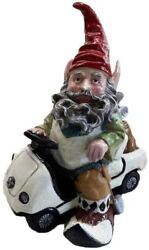 12 in Riding Golf Cart Golfer Gnome Statue Home Outdoor Decor Sculpture Ornament