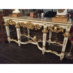 FRENCH COUNTRY GILT GOLD  CARVED CONSOLE TABLE W WHITE MARBLE TOP 84.5''L