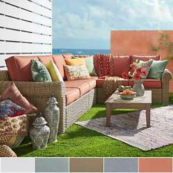 Barbados Mocha Rolled Arm Wicker Outdoor Cushioned Sectional by iNSPIRE Q Oasis