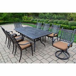 Sunbrella Aluminum 9 Pc Patio Dining Set with Table 6 Stackable Chairs 2
