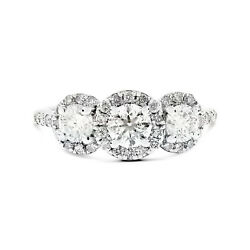 14k White Gold 1.50ct Round Diamond 3 Stone Pave Set Halo Engagement Ring