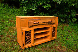 Rustic Wood  TV Stand Console Sideboard Table Log Cabin Art Furniture FREE SH!