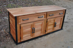 Rustic Industrial Wood TV media cabinet log cabin furniture FREE SHIPPING