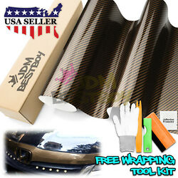 *Premium 2D Black Gold High Gloss Carbon Fiber Vinyl Wrap Sticker Air Release