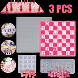 3PCS Set DIY Silicone Resin Chess Board Mold Making Tool Mould Crafting Handmade $15.98