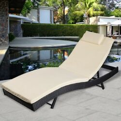 Outdoor Pool Chaise Lounge Chair PE Wicker Patio Furniture Adjustable New