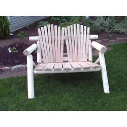 Rustic White Cedar Log Adirondack Love Seat Bench- Amish Made in the USA