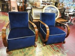 BEAUTIFUL PAIR OF ANCIENT ARMCHAIRS ART DECO ' IN BRIAR WALNUT YEARS 30 40