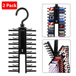 Adjustable Cross X Tie Rack Hanger Non Slip Belt Compact Closet Holder Organizer $9.48