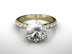 3 14 CT ROUND  EVS1 ENHANCED DIAMOND SOLITAIRE ENGAGEMENT RING 14K YELLOW GOLD
