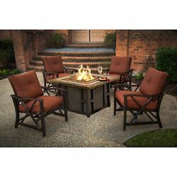 Marana 44-inch Square Gas Firepit Table Set with Four Red Cushioned Rocking
