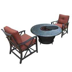 Novelina Firepit Table Set with Burner System Fire Beads  Weather Cover and