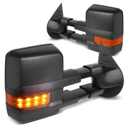 Fit 2007-2014 Chevy Silverado Black Manual Side Towing Mirror LED Amber Signal $116.88