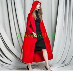 Luxury Women's 100% handmade cashmere wool coat Full Length Hooded Outwear Parka