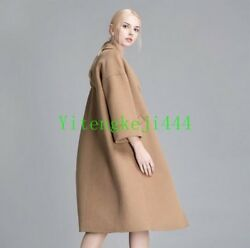 Womens Luxury Warm 100% Cashmere Parka Overcoats Trench Coats Jackets Woolen New