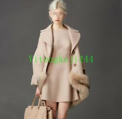 Lady 100% Real Big Fox Fur Long Outerwear Thick Cashmere Wool Coat Jacket Women