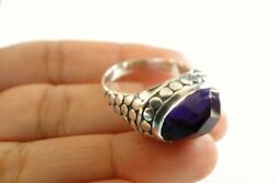 Oval Purple Amethyst Ornate Dot Edged 925 Sterling Silver Ring 6.25 7.25 8 9