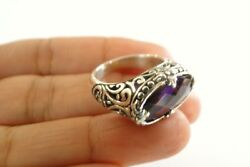 Oval Purple Amethyst Ornate 925 Sterling Silver Ring 6 7.25 8 9