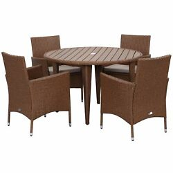 Safavieh Outdoor Living Cooley Toasted Almond Sand Dining Set (5-piece)
