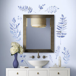 BLUE WATERCOLOR FERNS GIANT WALL DECALS Kathy Davis Modern Home Stickers Decor $30.00