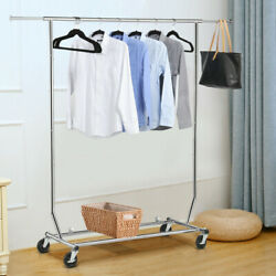 US Heavy Duty Commercial Garment Rack Rolling Collapsible Clothing Shelf Chrome