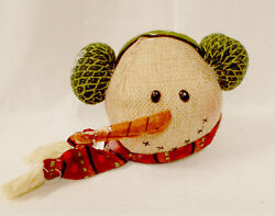 Snowman Burlap Head Green Earmuffs Red Scarf Plush Stuffed Winter Decor 8