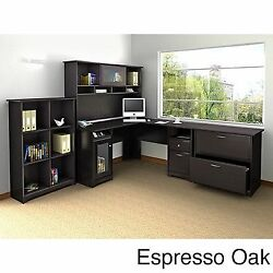 Cabot L Shaped Desk with Hutch 6 Cube Bookcase and Lateral Espresso