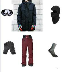 Ski Snowboard Black Jacket+ Pants+Gloves+Goggle+Balacalava+Socks S M L XL XXL