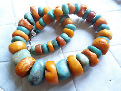 Antique Moroccan amber and ancient amazonite beads necklace 178 g