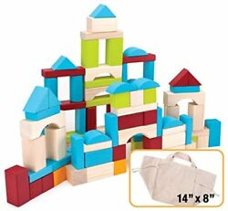 100 piece Natural Wood Building Blocks Set with Canvas Carry Bag $29.99