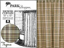 Thyme Shower Curtain by Park Designs Cool Toned Country Plaid 72x72 One