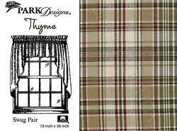 Thyme Swag by Park Designs 72x36 Pair Deep Toned Country Plaid One Pair