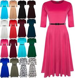 Womens Round Neck Franki Flared Belted Ladies Swing Top Skater Dress Plus Sizes GBP 12.99