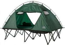 Double Size Tent Cot Folding Lounge Chair Bed Travel Camping Sleeping Gear Green