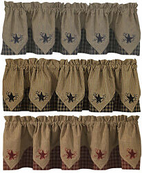 Sturbridge Star Embroidered Point Valance by Park Designs 72x15 3 Colors Pick