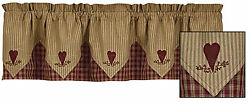 Sturbridge Heart Embroidered Point Valance by Park Designs 72x15 Inch Lined