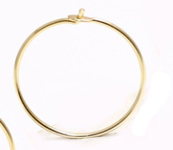 10 12 15 18 mm 14K Yellow Gold THIN Wire Hoop Earring (  Price for one piece )