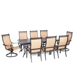 Hanover MANDN9PCSW-2 Manor 9-Piece Aluminum Framed Outdoor Dining Set with Umbre