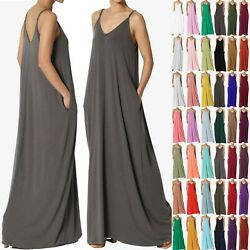 TheMogan PLUS Casual Beach V-Neck Soft Jersey Cami Long Maxi Dress With Pocket $21.99