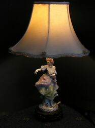 Rare Antique Lamp Porcelain Lady Figurine Original Shade w Roses $112.50