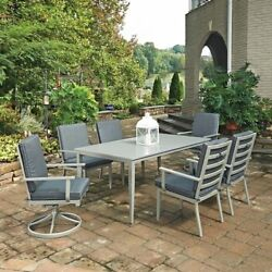 South Beach 7 Pc. Rectangular Outdoor Dining Table with 4 Arm Chairs