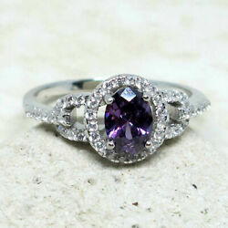 ATTRACTIVE 1 CT OVAL AMETHYST PURPLE 925 STERLING SILVER RING SIZE 5-10