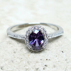 GORGEOUS 1 CT OVAL AMETHYST PURPLE 925 STERLING SILVER RING SIZE 5-10