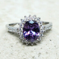 ATTRACTIVE 2 CT OVAL AMETHYST PURPLE 925 STERLING SILVER RING SIZE 5-10