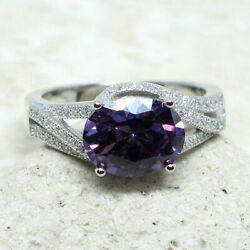 GORGEOUS 2.5 CT OVAL AMETHYST PURPLE 925 STERLING SILVER RING SIZE 5-10